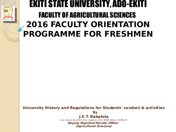 PPT) Student Orientation on University History and