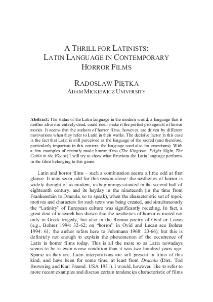 PDF) A THRILL FOR LATINISTS: LATIN LANGUAGE IN CONTEMPORARY