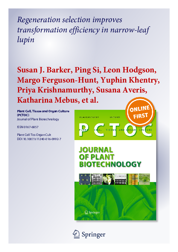 PDF) Plant Cell, Tissue and Organ Culture (PCTOC) Journal of Plant
