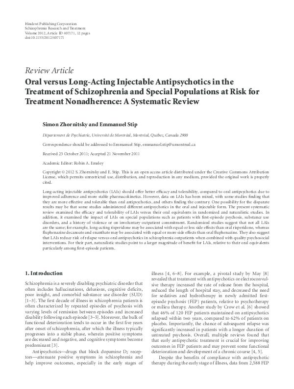 PDF) Oral versus Long-Acting Injectable Antipsychotics in