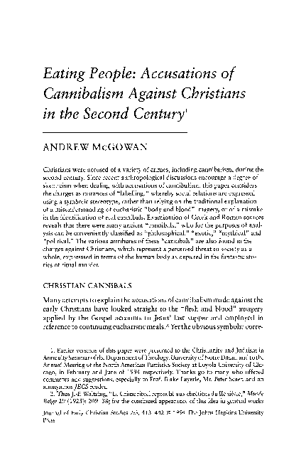 PDF) Eating People: Accusations of Cannibalism Against Christians in
