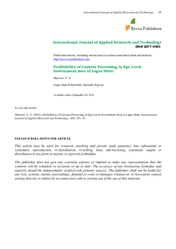 PDF) Profitability of Cassava Processing in Epe Local