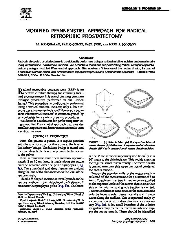 Pdf Modified Pfannenstiel Approach For Radical Retropubic
