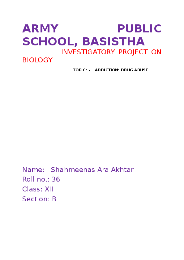 DOC) ARMY PUBLIC SCHOOL, BASISTHA INVESTIGATORY PROJECT ON