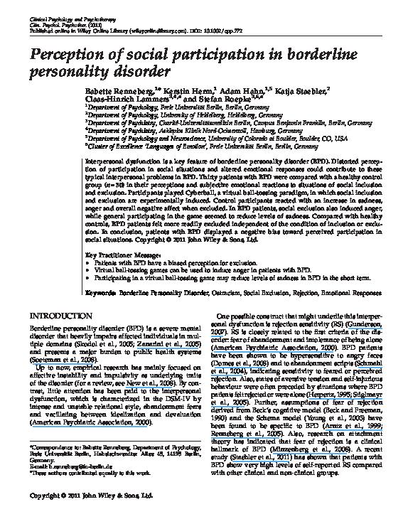 PDF) Perception of Social Participation in Borderline