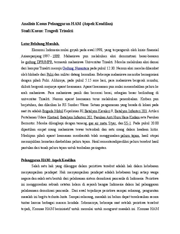 Doc Analisis Kasus Pelanggaran Ham Aspek Keadilan Studi Kasus Tragedi Trisakti Iqbal Anggriawan Academia Edu