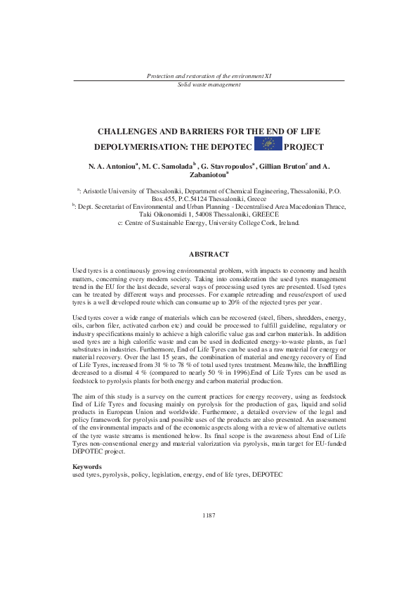 PDF) CHALLENGES AND BARRIERS FOR THE END OF LIFE DEPOLYMERISATION