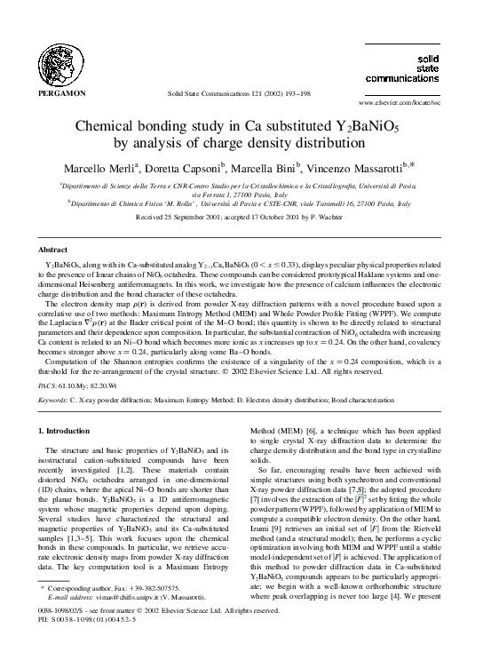 PDF) Chemical bonding study in Ca substituted Y2BaNiO5 by analysis