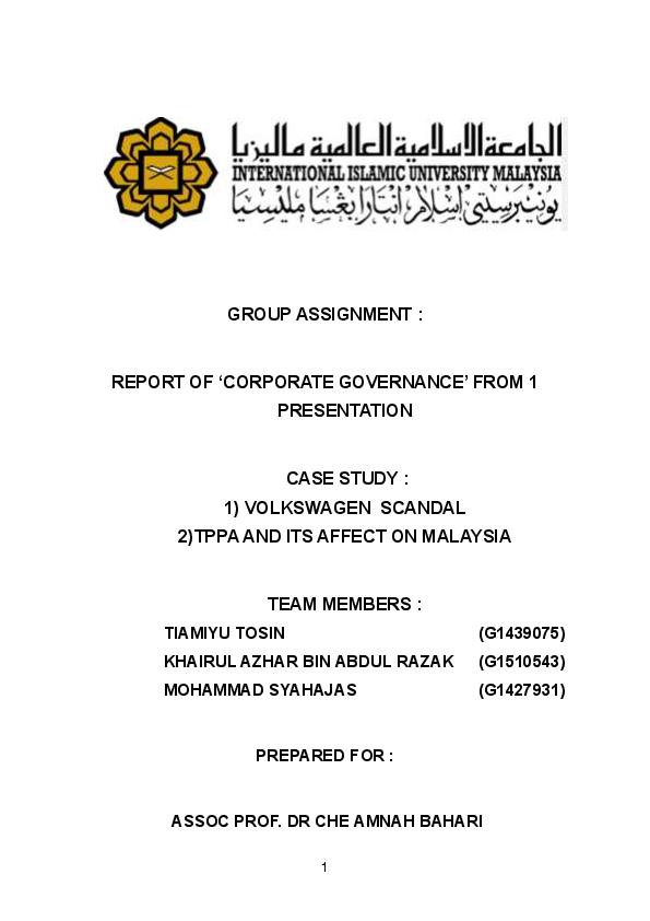PDF) GROUP ASSIGNMENT : REPORT OF 'CORPORATE GOVERNANCE