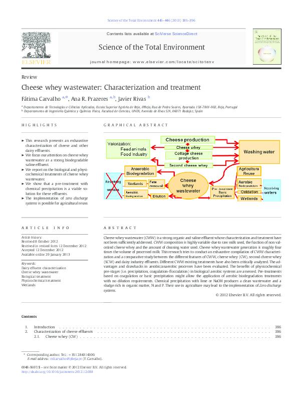 pdf cheese whey wastewater characterization and treatment javier rh academia edu