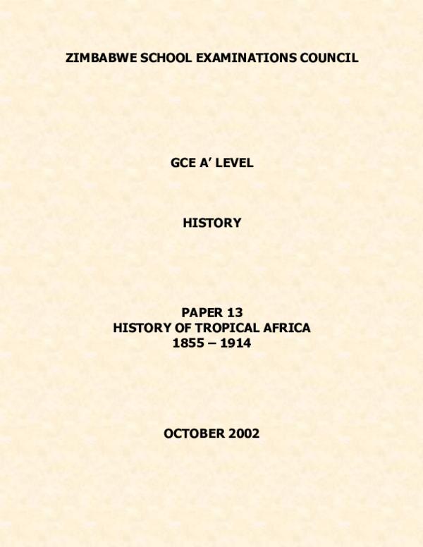a level history zimsec paper 1pdf