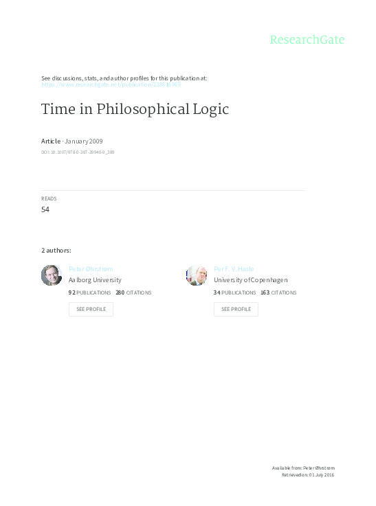 PDF) Time in Philosophical Logic   Per Hasle - Academia edu
