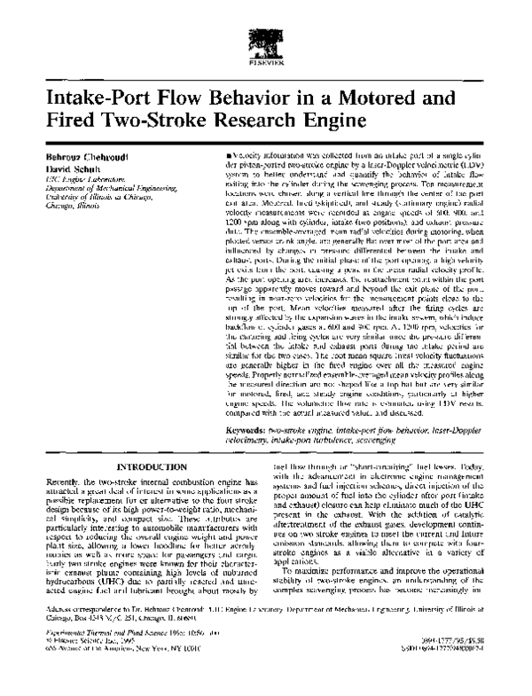 PDF) Intake-port flow behavior in a motored and fired two