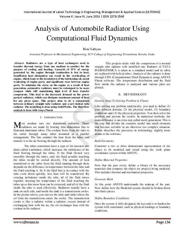 PDF) Analysis of Automobile Radiator Using Computational Fluid