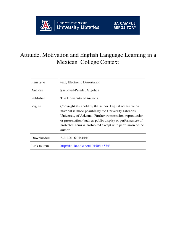 PDF) Attitude, Motivation and English Language Learning in a Mexican