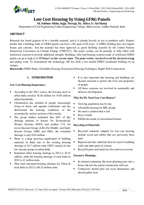 PDF) Low Cost Housing by Using GFRG Panels | International