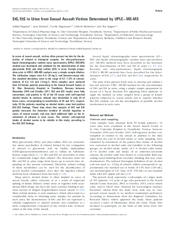 PDF) EtG/EtS in Urine from Sexual Assault Victims Determined