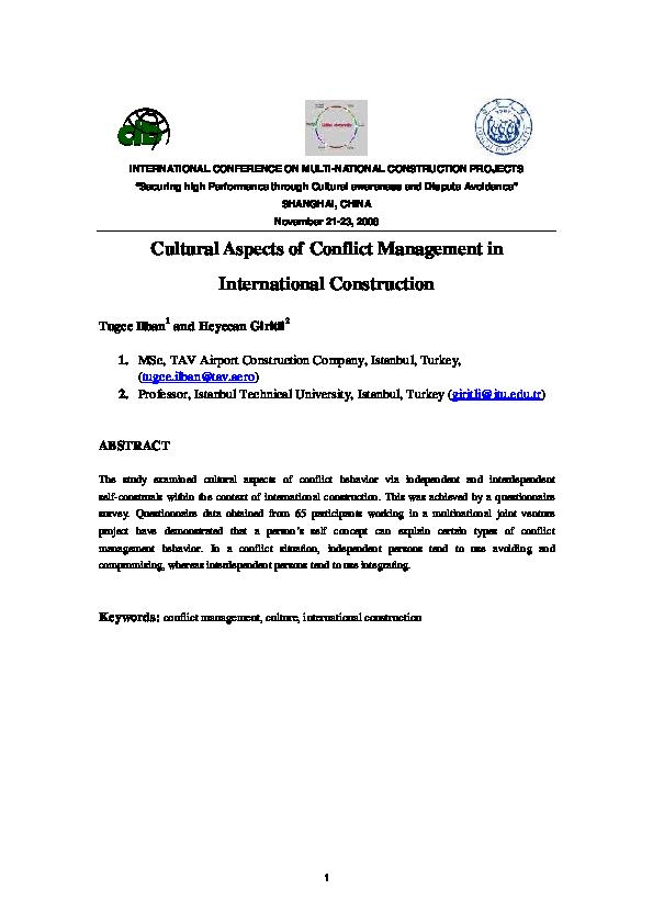 PDF) INTERNATIONAL CONFERENCE ON MULTI-NATIONAL CONSTRUCTION