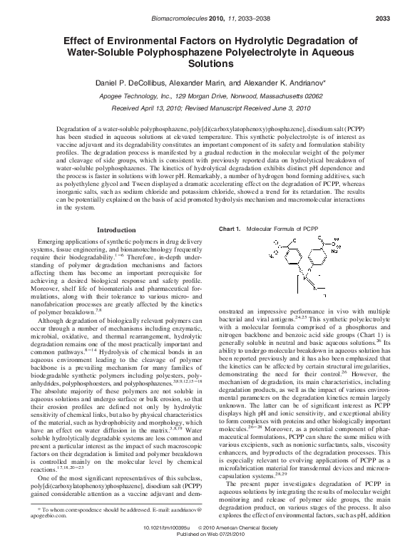 PDF) Effect of Environmental Factors on Hydrolytic