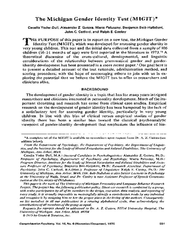 PDF) The Michigan gender identity test (MIGIT) | Benjamin