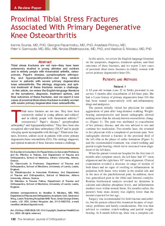 Pdf Proximal Tibial Stress Fractures Associated With Primary Degenerative Knee Osteoarthritis George Papachristou Academia Edu