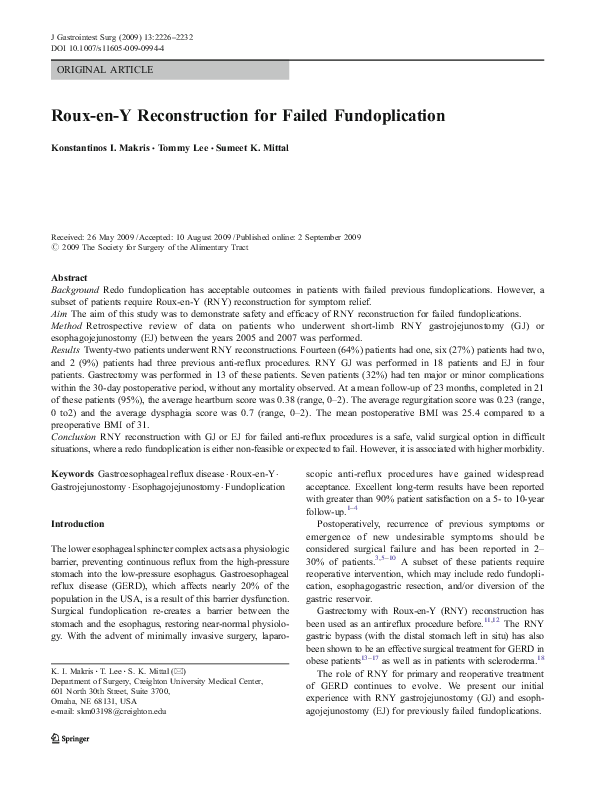 PDF) Roux-en-Y Reconstruction for Failed Fundoplication