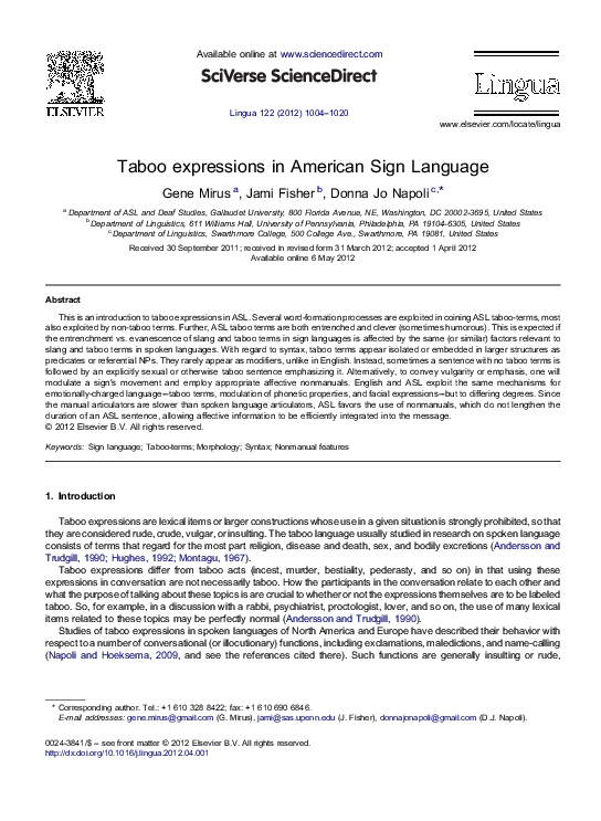 Taboo Expressions In American Sign Language Jami Fisher And Donna