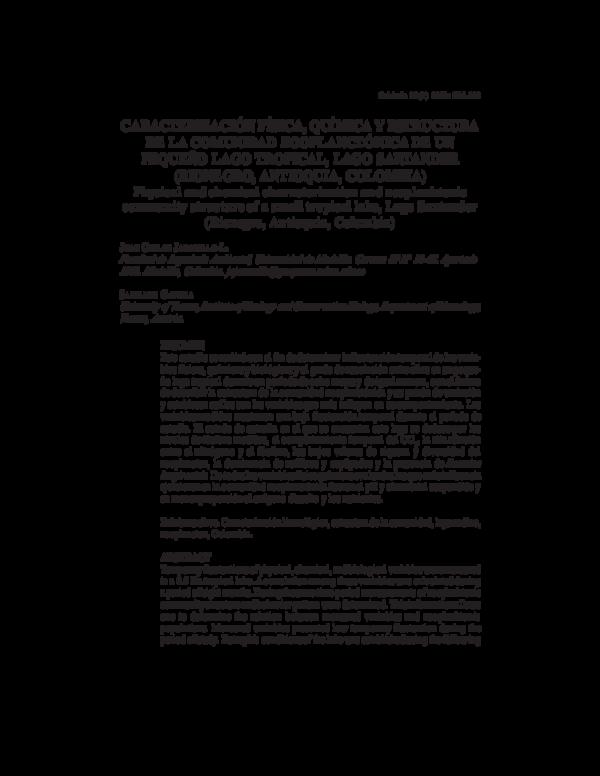 Pdf Caracterización Física Química Y Estructura De La
