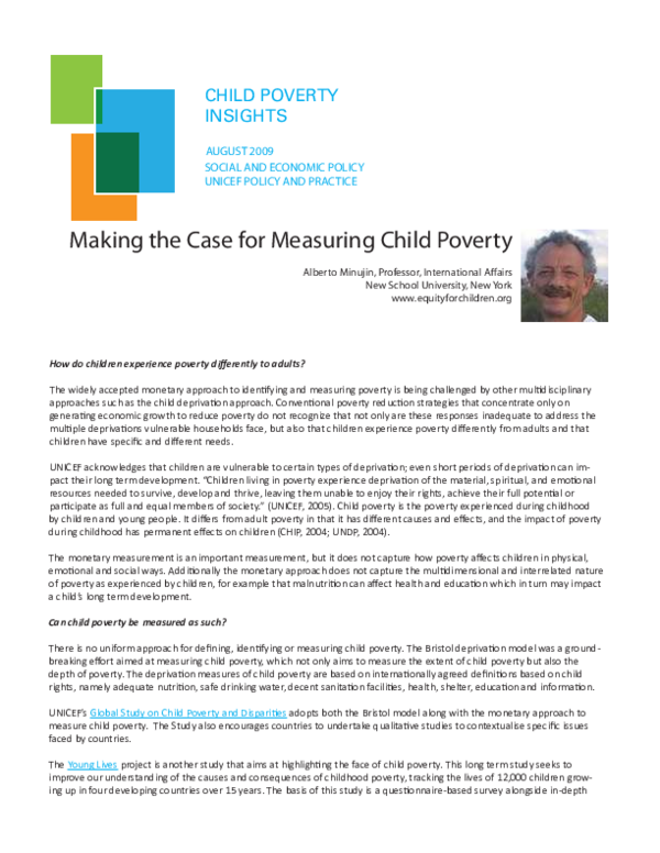 The Depths Of How Poverty Affects >> Pdf Making The Case For Measuring Child Poverty Alberto Minujin
