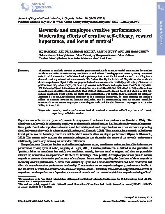 PDF) Rewards and employee creative performance: Moderating