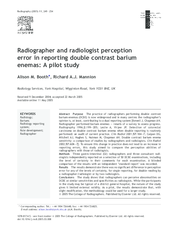 PDF) Radiographer and radiologist perception error in reporting
