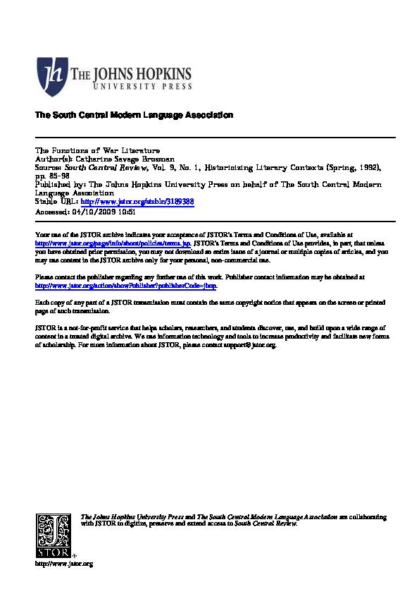 PDF) The Functions of War Literature | Engradado Rock - Academia edu