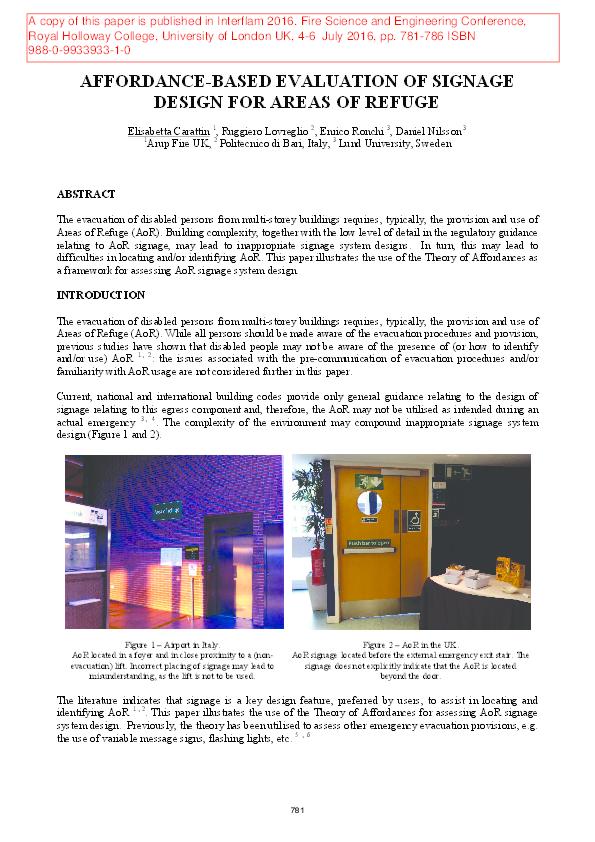 PDF) AFFORDANCE-BASED EVALUATION OF SIGNAGE DESIGN FOR AREAS