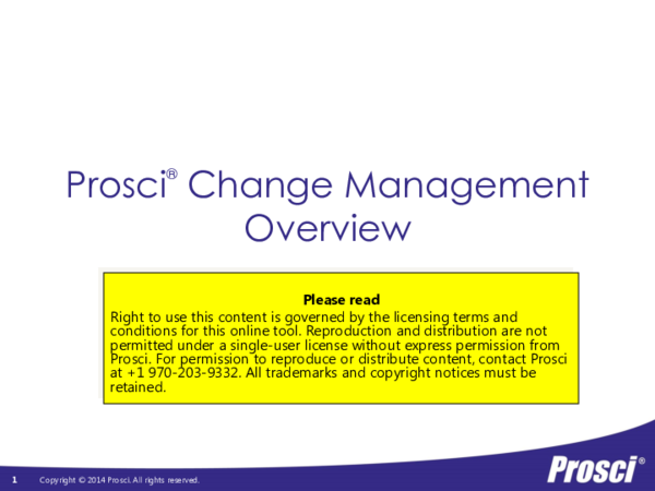 PDF) Prosci ® Change Management Overview | Marichu Beterbo