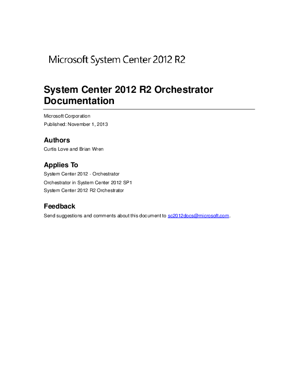 PDF) System Center 2012 R2 Orchestrator Documentation