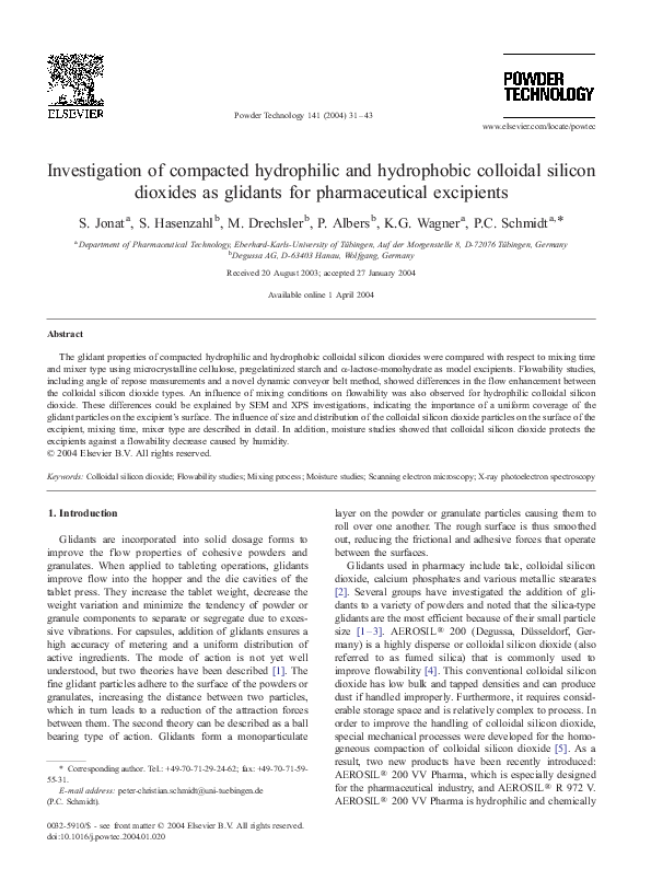 PDF) Investigation of compacted hydrophilic and hydrophobic