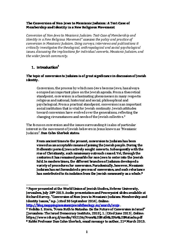 PDF) Conversion of Non-Jews to Messianic Judaism