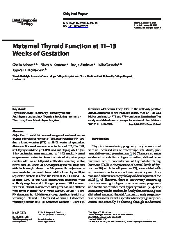 PDF) Maternal Thyroid Function at 11–13 Weeks of Gestation