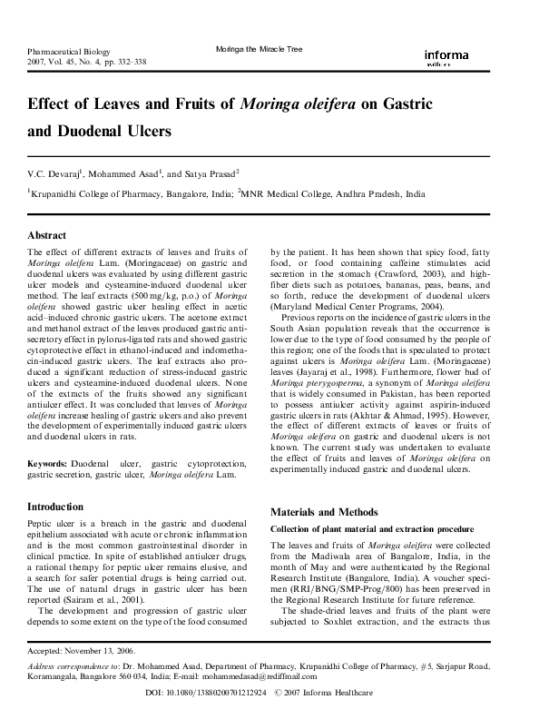 PDF) Effect of Leaves and Fruits of Moringa oleifera on