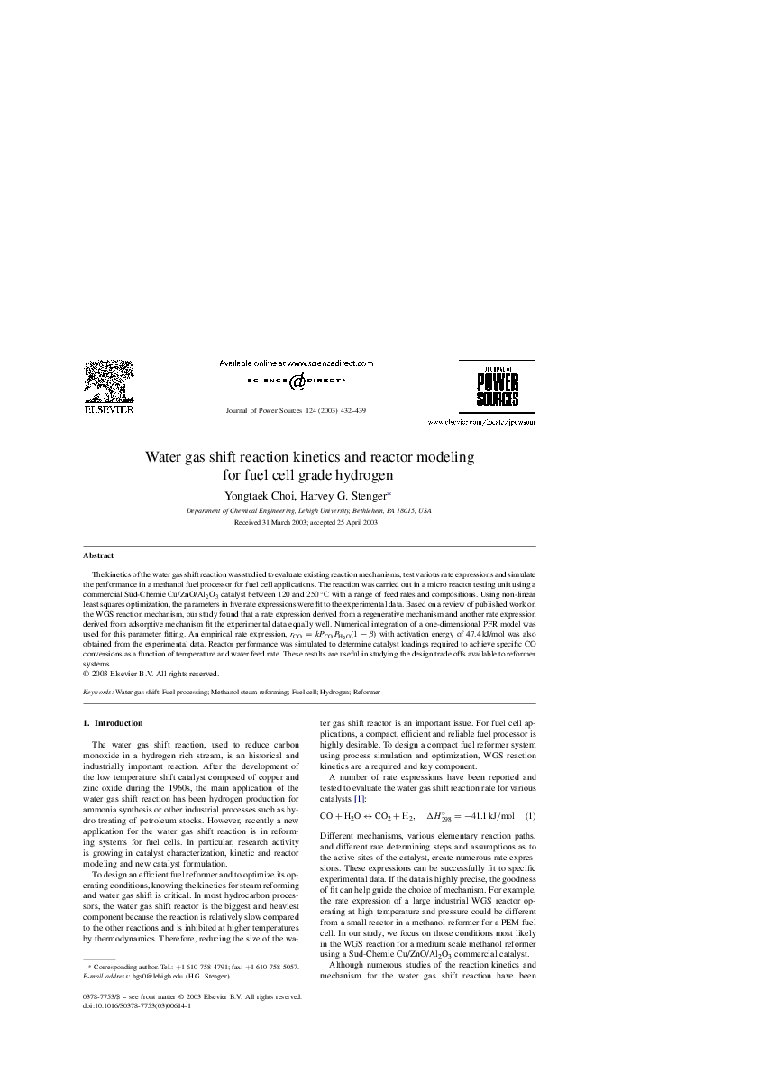 Water gas shift reaction kinetics and reactor modeling for
