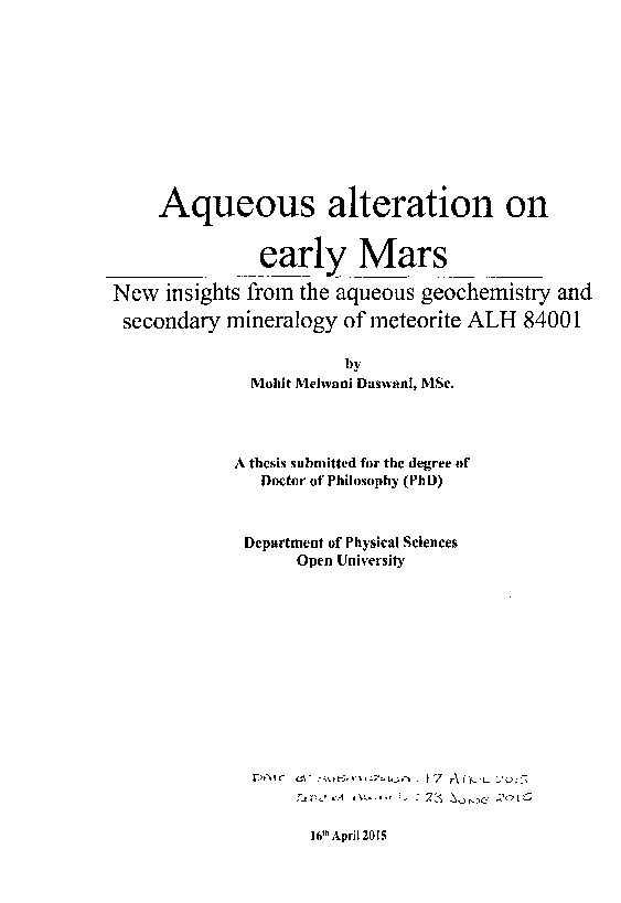 1cf9753288 Aqueous alteration on early Mars  New insights from the aqueous ...