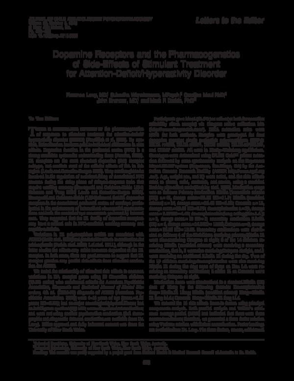 PDF) Dopamine Receptors and the Pharmacogenetics of Side