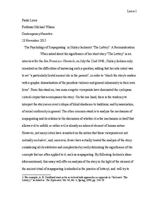 Example Essay Papers Docx Mental Health Essay also Topics English Essay The Tradition Of Scapegoating In Sherley Jacksons The Lottery A  Health Issues Essay