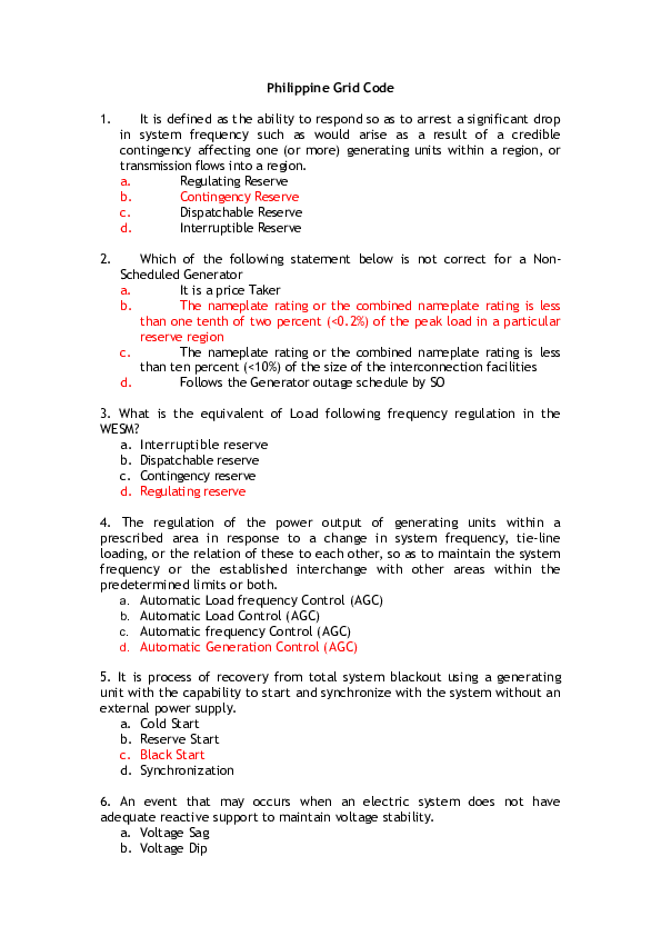 DOC) Philippine Grid Code | jeff pascua - Academia edu