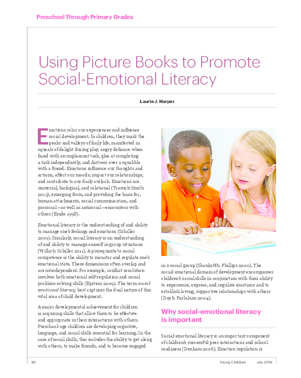 The Socialemotional Component Of >> Pdf Using Picture Books To Promote Social Emotional Literacy