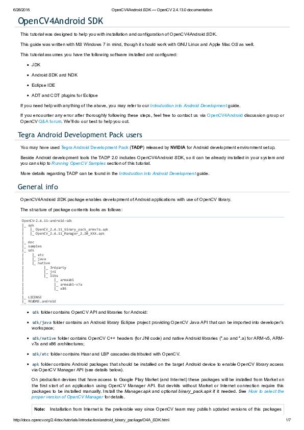 PDF) OpenCV4Android SDK | VK Unplugged - Academia edu