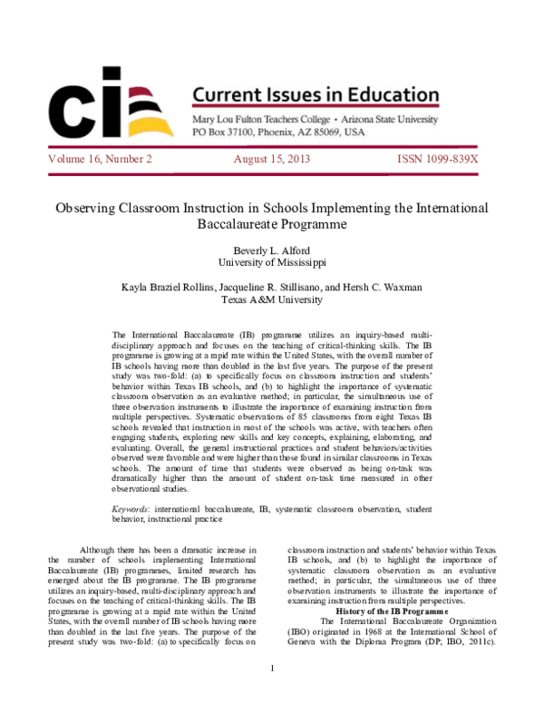 PDF) Observing Classroom Instruction in Schools Implementing