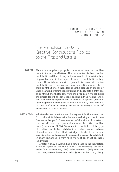Pdf The Propulsion Model Of Creative Contributions Applied To The Arts And Letters James C Kaufman Academia Edu