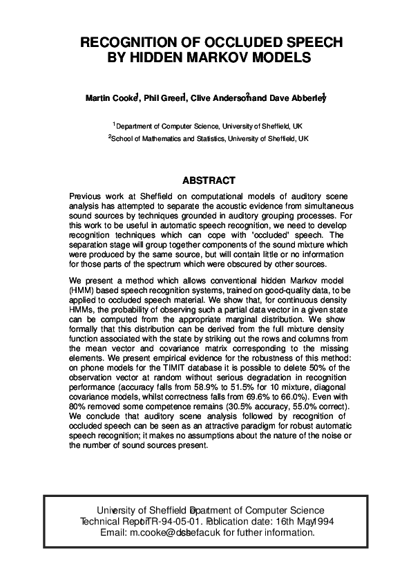 PDF) Recognition Of Occluded Speech By Hidden Markov Models | Clive