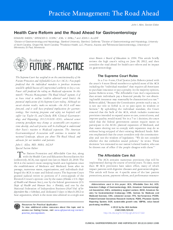 PDF) Health Care Reform and the Road Ahead for
